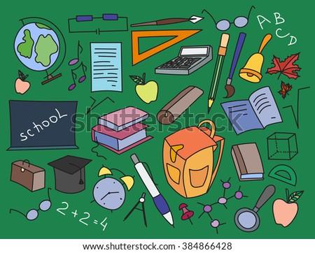 Doodle  set of learning. - stock photo