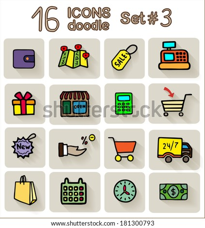 Doodle shopping icons set, hand drawn cartoon collection, raster version
