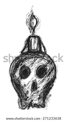 doodle skull and candle, design element - stock photo