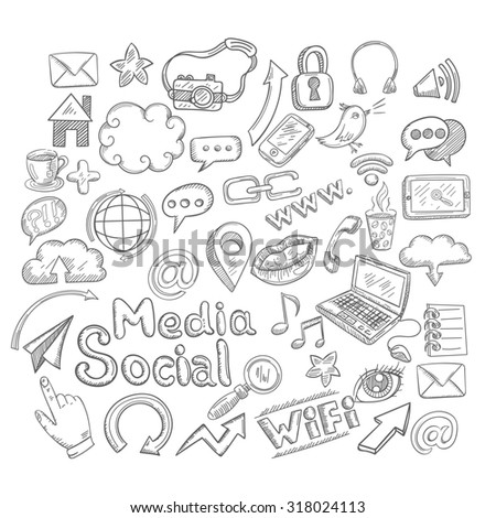 Doodle social media decorative icons set with creative elements isolated  illustration