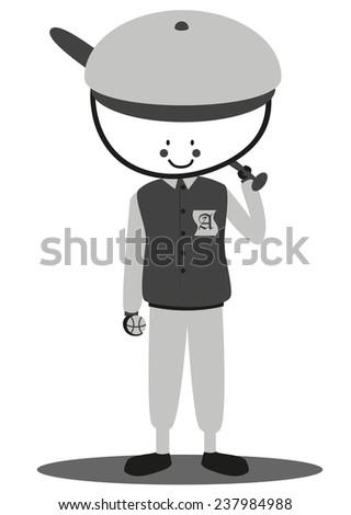 Doodle softball player - stock photo