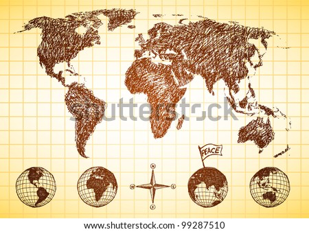 Doodle style world map with 4 views of the globe and compass - stock photo