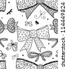 Doodle textured bows seamless pattern. Raster. - stock photo