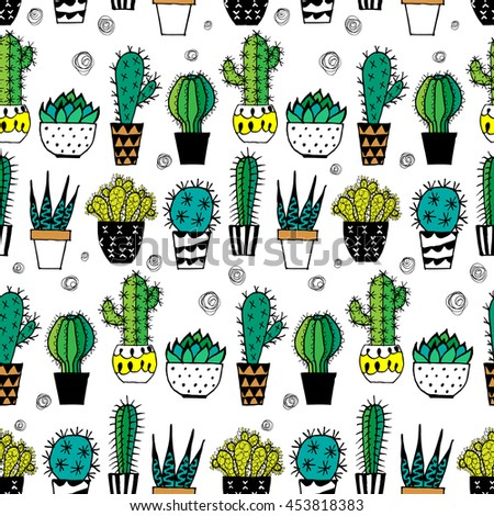 Doodle textured cactuses. Seamless pattern. Raster.