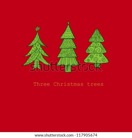 Doodle textured Christmas trees-baubles background. Raster. - stock photo