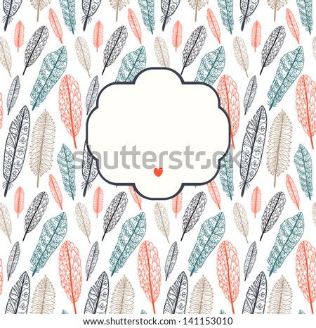 Doodle textured feathers background with a frame. Raster. - stock photo