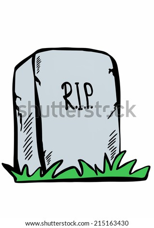 doodle tombstone with RIP - stock photo