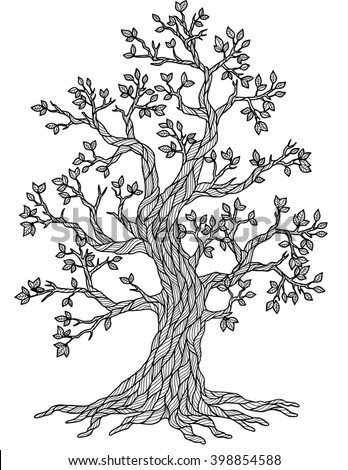 Doodle Tree. Coloring Book for Adult Meditation. Raster copy