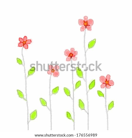 Doodle watercolor small pink flowers long stock illustration doodle watercolor small pink flowers with long stems mightylinksfo