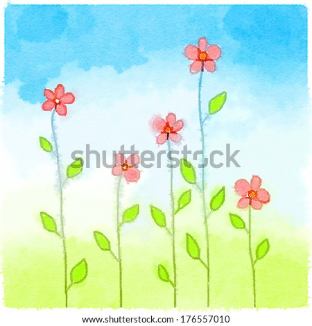 Doodle watercolor small pink flowers long stock illustration doodle watercolor small pink flowers with long stems over blue sky mightylinksfo