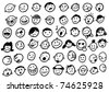 doodled funny stick figure faces (jpg version) - stock vector