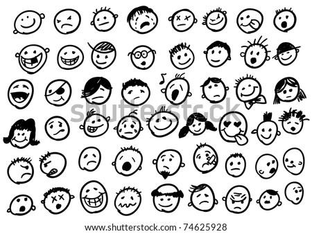doodled funny stick figure faces (jpg version) - stock photo