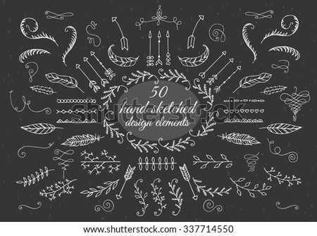 Doodles border, arrow, brushes, hearts, crown, love decor element set. For design template, invitation and wedding,valentine day,holiday,easter,birthday. - stock photo
