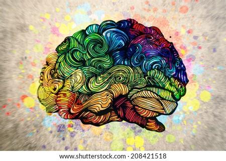 Doodles brain illustration - stock photo