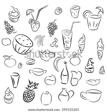 Doodles cocktails and desserts, fruits,coffee,alcohol, bar, drink icons. Collections for bars, cafe or restaurant in sketch. Raster ice cream, juice and tea
