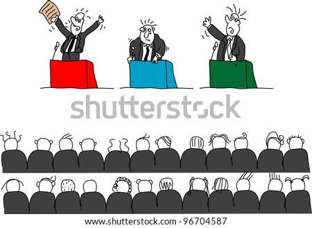 Doodles of politicians giving speeches, isolated - stock photo
