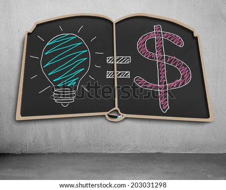 Doodles on book shape blackboard for idea is money concept - stock photo