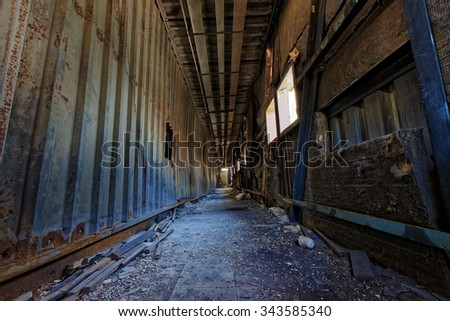 doomsday destruction ruins factory damage - stock photo