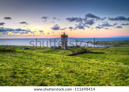Doonagore castle at sunset, Co. Clare, Ireland - stock photo