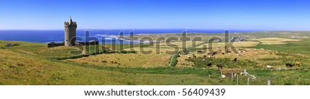 Doonagore castle panoramic - Ireland - stock photo
