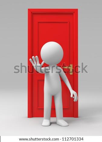 Door/A man with his back to the door - stock photo