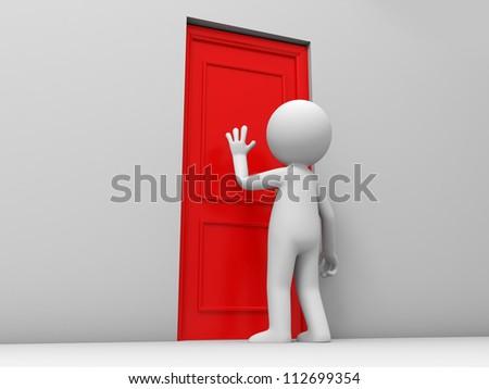 Door/A person knock at a door - stock photo