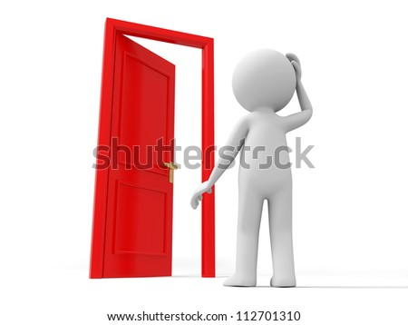 Door/A person stands nearby a door thinking - stock photo