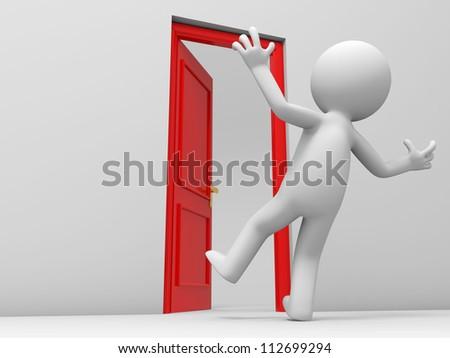 Door/ a surprised people and a opened door - stock photo