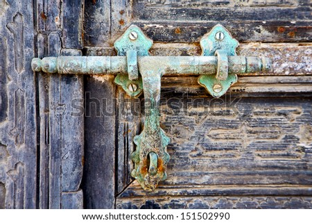 door abstract  spain canarias brass brown knocker in a green closed wood    lanzarote  - stock photo