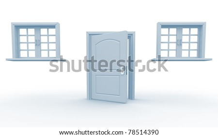 Door and windows on a white background - This is a 3d render illustration - stock photo