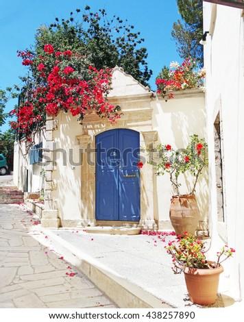 door architecture detail in hotel building complex of apartments santorini Greece - stock photo