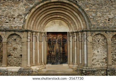 Door at an ancient, old monumental church