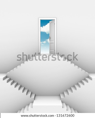 door at top of stairs - opportunity on higher level 3d concept - stock photo