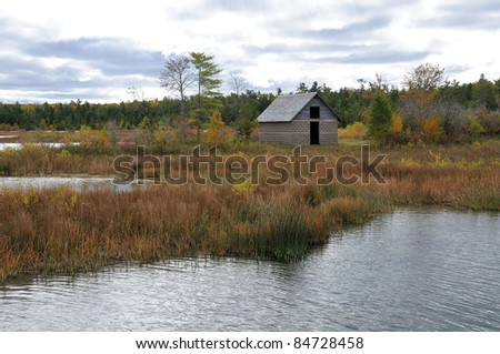 Door County Backwater and Cottage - stock photo
