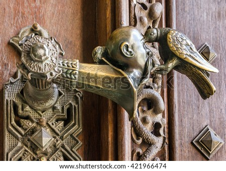Door decorative handle in Castle Hluboka nad Vltavou, Czech Republic.