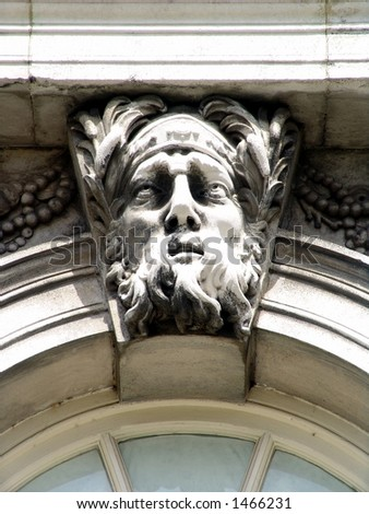 Door detail of man with beard