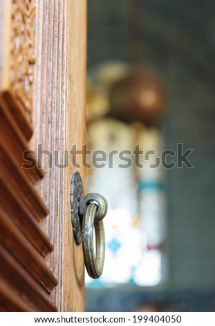 door elements of Baghdad Kiosk in the Topkapi palace closeup - stock photo