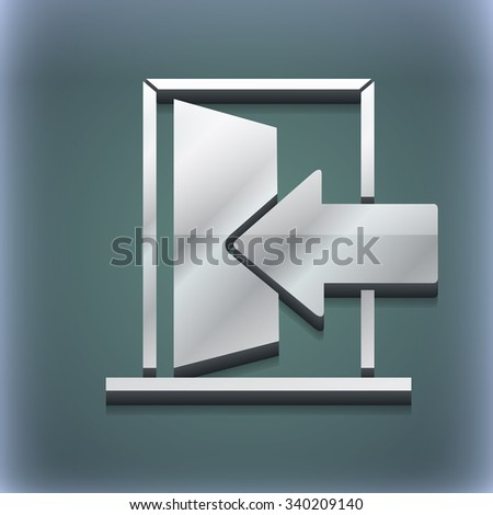 Door, Enter or exit icon symbol. 3D style. Trendy, modern design with space for your text illustration. Raster version - stock photo