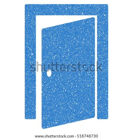 Door grainy textured icon for overlay watermark stamps. Flat symbol with dirty texture. Dotted glyph cobalt ink rubber seal stamp with grunge design on a white background.