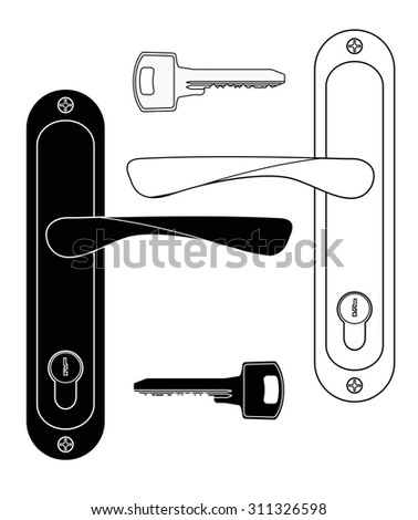 Door handle and key. Raster version. Isolated on white. - stock photo