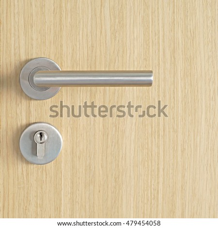 door handle and keyhole on wooden door