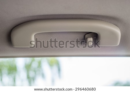 door handle of the car. Focus on door handle - stock photo