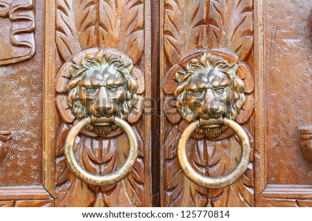 Door handles on the doors of ancient temples