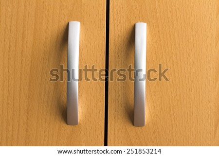 door handles on the white background - stock photo