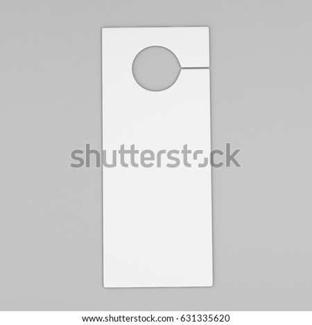 Door Hanger Flyer White Tags For Room In Hotel, Resort, Home Isolated On  Grey