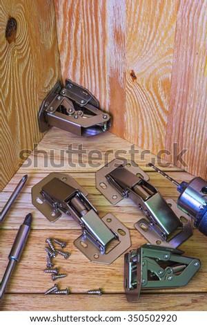Door hinges for furniture - stock photo