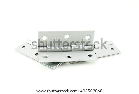 Door hinges isolated on white background - stock photo