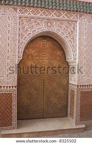 Door in Marrakech, Morocco, Africa. One of most popular travel destinations. - stock photo