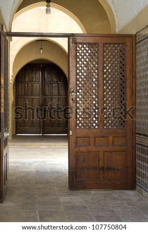 door in mosque of Kairouan - stock photo