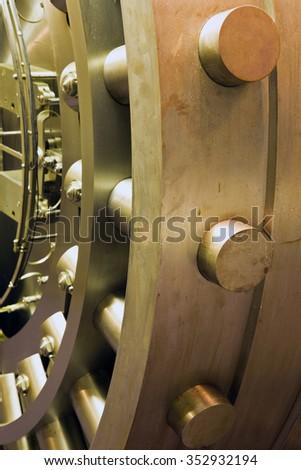 Door in old bank safe deposit room - stock photo